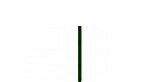 Eckpfosten mit Abdeckleiste für 1430 mm Doppelstabmattenzaun BERLIN - 60x60 mm - RAL 6005 Moosgrün