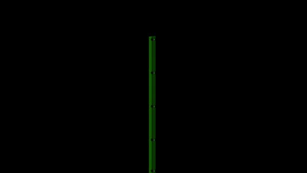 Zaunpfosten mit Abdeckschiene für 1630 mm Doppelstabmatte BERLIN - 60x40 mm - RAL 6005 Moosgrün