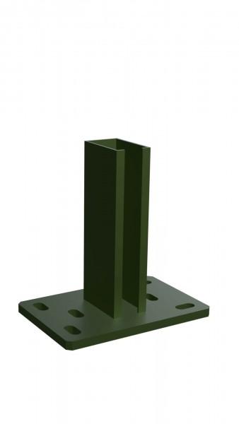 Fußplatte für Zaunpfosten 60/40 mm RAL 6005