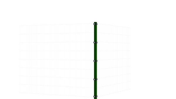 Eckpfosten mit Klemmplatte für 1630 mm Doppelstabmattenzaun BERLIN - 60x60 mm - RAL 6005 Moosgrün