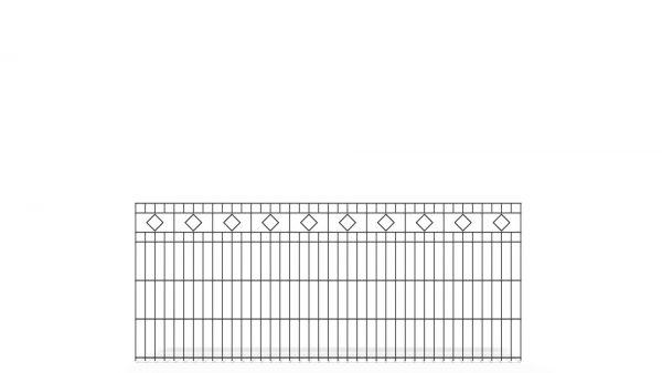 Schmuckzaun BASIC von zaunguru.de - Modell BERLIN mit Designelement Raute / Höhe: 830 mm / Breite: 2005 mm / Farbe: RAL 7016