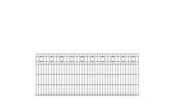 Schmuckzaun BASIC von zaunguru.de - Modell BERLIN mit Designelement Kreis / Höhe: 830 mm / Breite: 2005 mm / Farbe: RAL 7016