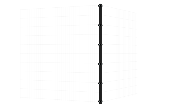 Eckpfosten mit Klemmen für 2030 mm Doppelstabmatte BERLIN - 60x60 mm - RAL 7016 Anthrazitgrau