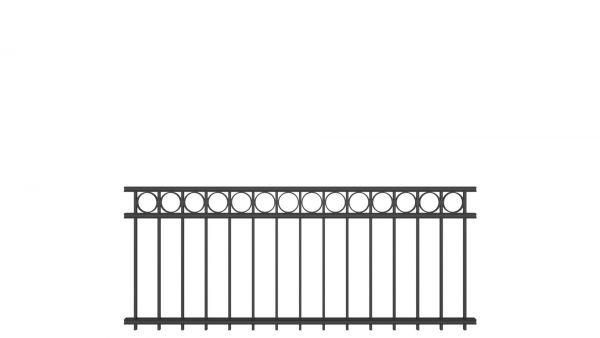 Zaunelement BASIC von zaunguru.de - Modell OLDENBURG mit Designelement Kreis / Höhe: 815 mm / Breite: 1996 mm / Farbe: RAL 7016