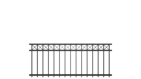 Zaunelement BASIC von zaunguru.de - Modell OLDENBURG mit Designelement Kreuz / Höhe: 815 mm / Breite: 1996 mm / Farbe: RAL 7016